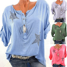 Womail Women top Summer Fashion Casual Button Five-pointed Star Hot Drill Plus Size Print loose women t-shirt 2019 dropship f1(China)