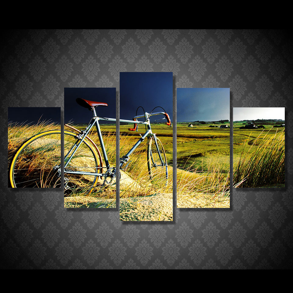 Online Shop Decoration Living Room Wall Art Painting 5 Panel Field ...
