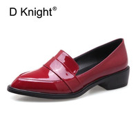 Large Size 32 43 Lady Casual Flat Loafers Shoes Fashion Patent Leather Pointed Toe Women's Flats British Black Red Women Oxfords