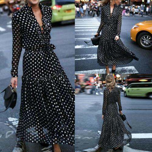 New 2019 Women Chiffon Bandage Cross V-neck Long Sleeve Wrap Dresses Polka Dot Long Maxi Ruffled Dresses