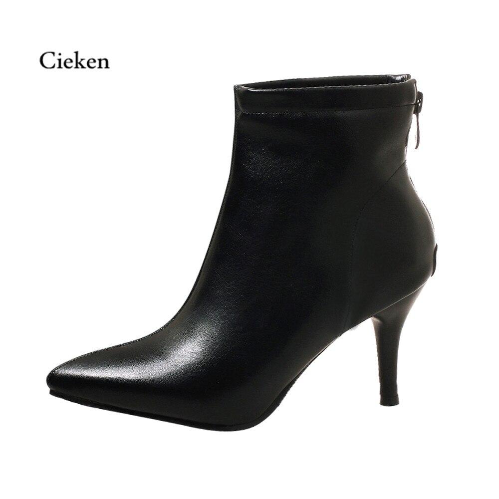 Mode CouleurL black Chaussures green Solide De Femmes Peluche Pointu Courte toe Bottes D'hiver Pu Glissière Talon Cheville Beige Latérale Haut rdCsthQx