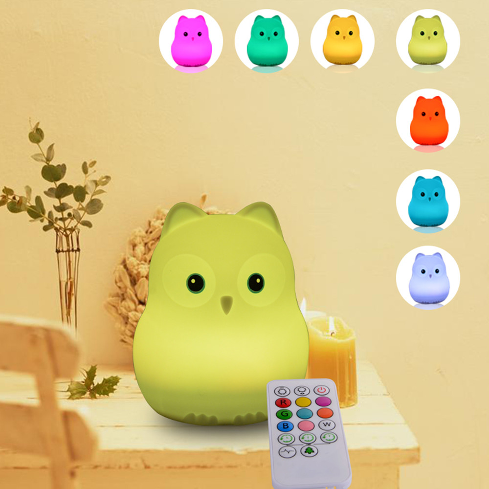 Bird Hippo Owl LED Night Light Touch Sensor Remote Control RGB LED Light Dimmable Timer USB