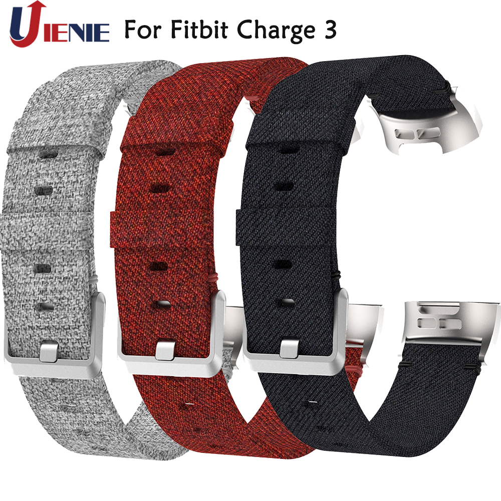 Woven Canvas Fabric Watchband Wrist Band Straps For Fitbit Charge 3 Smart Bracelet Strap Sport Replacement Wristband Straps