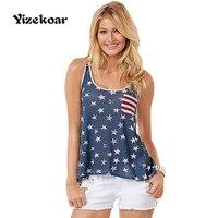 Yizekoar Mujeres Atractivas Del Verano Backless Hollow Sirena Nueva Colección de Impresión Camiseta Ocasional de Moda de La Bandera Americana Top Para Damas
