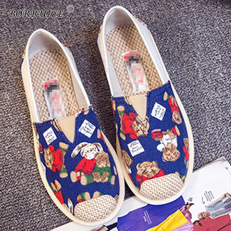 BORRUICE 2018 New Women Flats Fashion Printing Casual Breathable Canvas Shoes Woman Spring Autumn Soft Flat Shoes Zapatos Mujer spring summer women casual shoes flats ballet shoes new 2018 fashion light breathable bowknot shoes women mujer zapatos s022