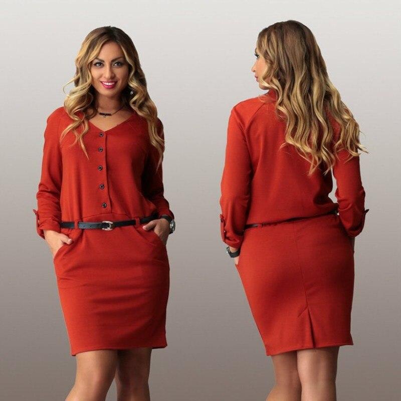 2015 women plus size work dress casual long sleeve cotton mini ...