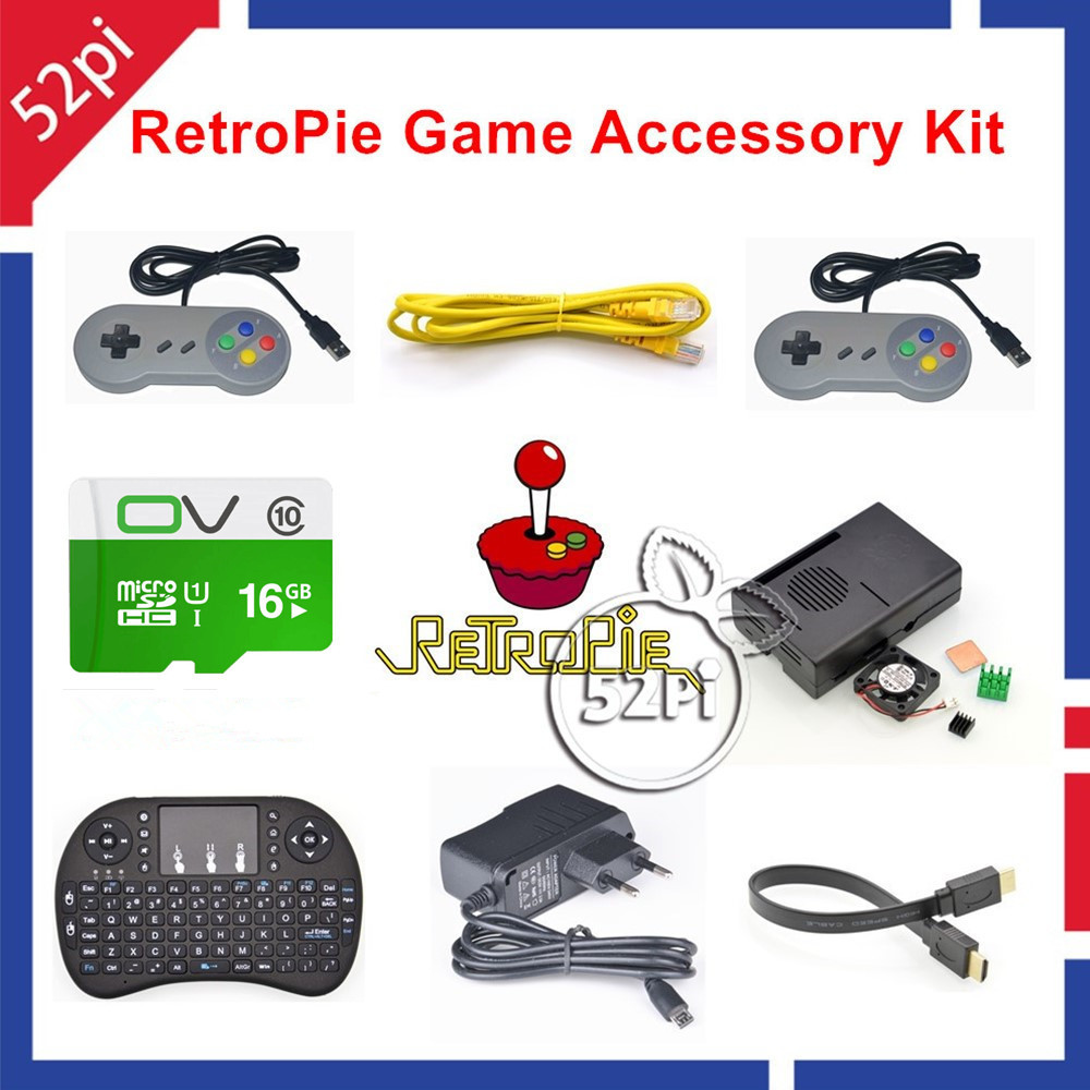 52Pi RetroPie Console accessoires Kit de jeu avec carte 16 GB et 2 contrôleur USB SNES pour Raspberry Pi 3, non inclus Raspberry Pi
