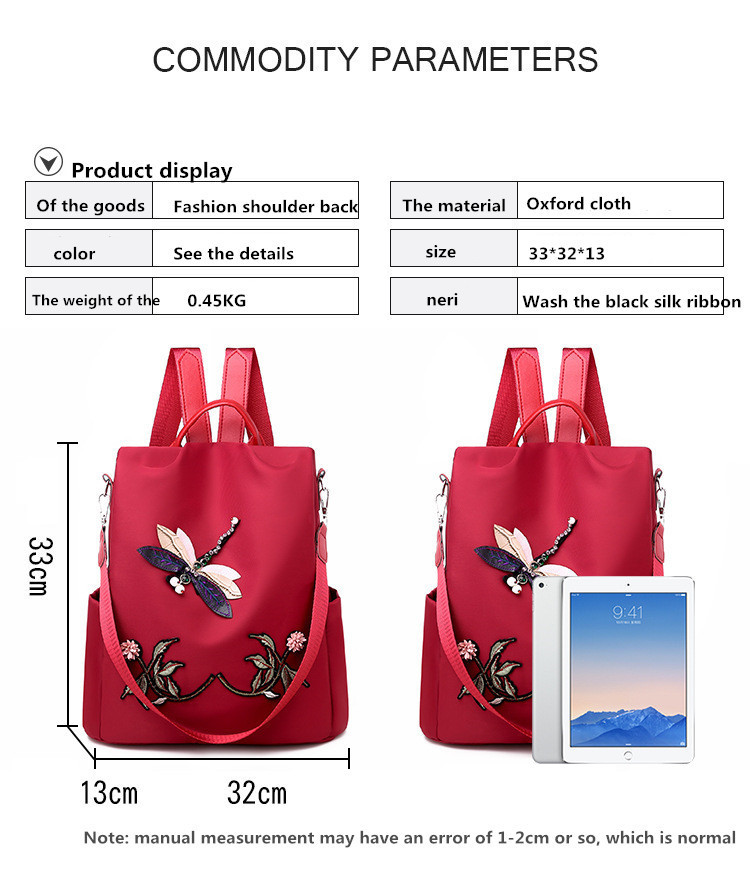 Image 3 - Waterproof Nylon Women Backpack Zipper Oxford School Bags For Girls Dragonfly Flower 3D Embroidered Backpack Female Rucksack-in Backpacks from Luggage & Bags