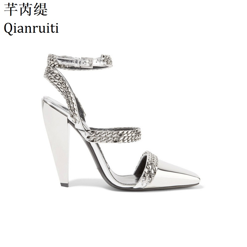 Qianruiti Silver Beige Chains High Heels Sandals Kim Kardashian Style Block Heels Women Shoes Ankle Strap Slingback Women Pumps