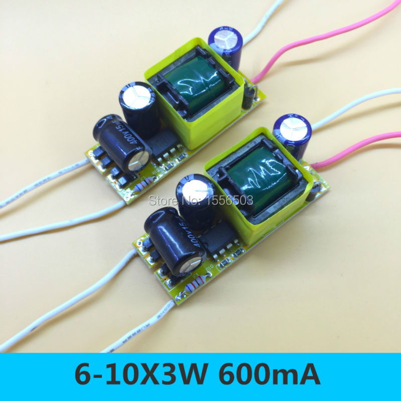 2 PCS Isolated LED Constant Current Driver 20W 600MA 6-10X3W Power Supply Lighting Transformer for LED Bulb Growing Plant Lamp good group diy kit led display include p8 smd3in1 30pcs led modules 1 pcs rgb led controller 4 pcs led power supply