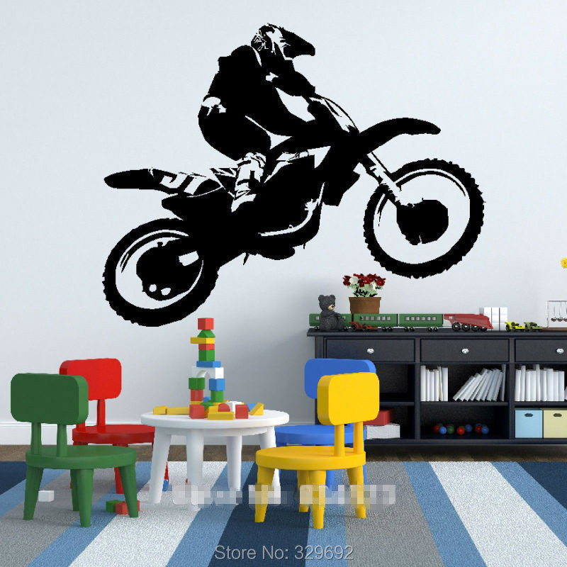 Scrambler motorcycle dirt bike wall art car decal sticker for Motorcycle decorations home