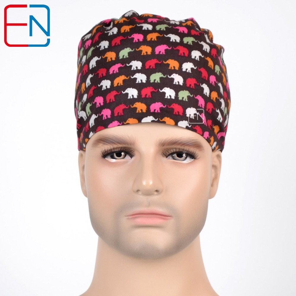 Hennar Surgical Scrub Caps Comfortable Top Material Adjust Freely Caps Mask With Sweatband 100% Cotton For Medical Hospital Caps