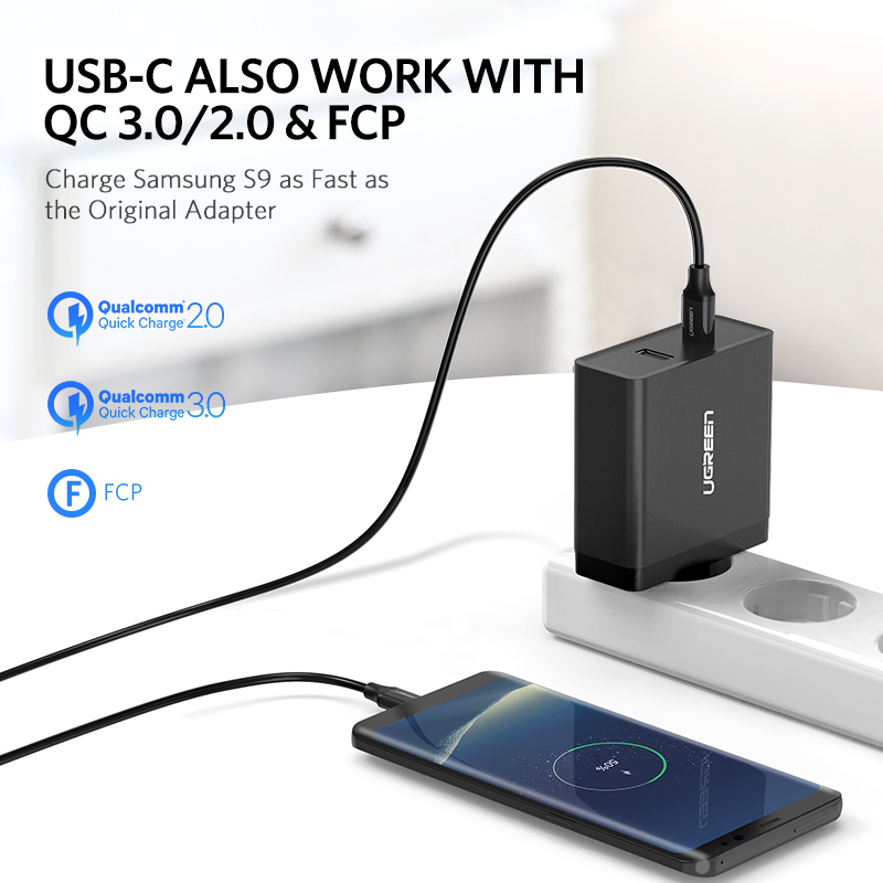 Ugreen USB Charger PD 45W Fast Charger for iPhone X 8 Quick Charge 3 0 for Xiaomi Phone Charger for MacBook Pro Nintendo Switch in Mobile Phone Chargers from Cellphones Telecommunications