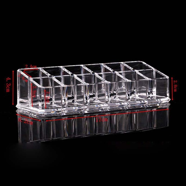 New Arrival 12 Grids Transparent Lipstick Holder Clear Acrylic Display Stand Sundry Storage Box Cosmetic Makeup Organizer 1