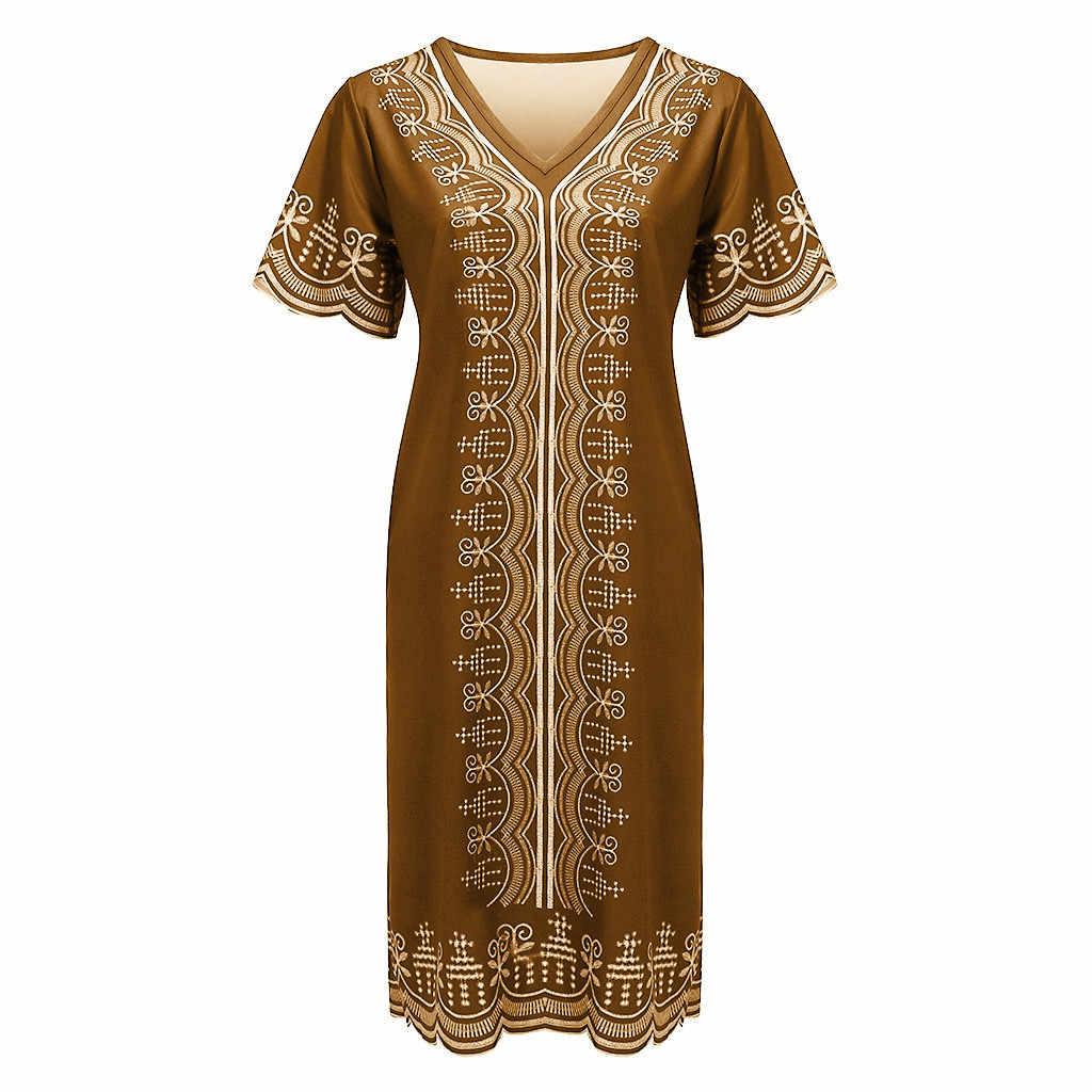 MISSOMO летнее женское платье размера плюс 5XL женское Повседневное платье в африканском стиле с v-образным вырезом из кусков с коротким рукавом vestidos Винтаж 716