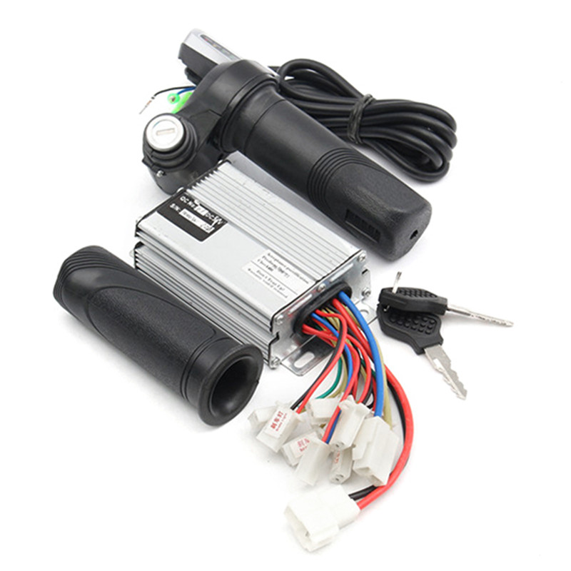 High Quality 36V 1000W Motorcycle Controller Brushed + Throttle Twist Grips Electric Bike Scooter цена