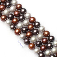 High Quality 10 10 5mm Natural Mixed Freshwater Pearl Nearly Round Loose Beads Strand 15 5
