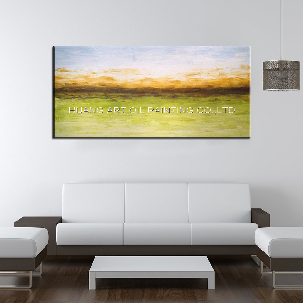 Hand Painted Modern Lemon Green Landscape Oil Picture Wall Art ...
