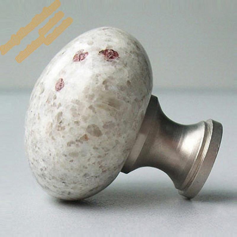 aliexpresscom buy round marble cabinet knob decorative dresser knobsnatural kashmir white granite with brass base and matched screwelegant decor from - Decorative Cabinet Knobs