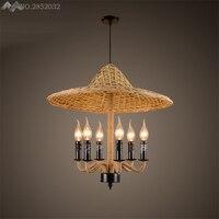 Юго Восточная Азия ручной работы бамбуковая подвеска в виде шляпы лампы пеньковая веревка Подвесные Светильники для гостиной ресторана сп