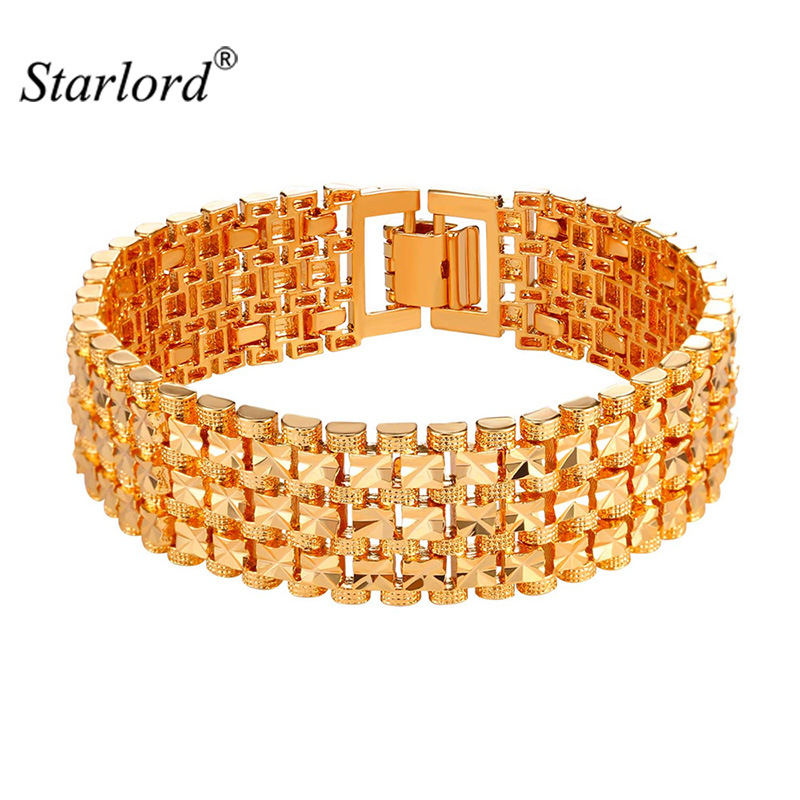 Starlord New Arrival Big Chain Link Bracelet 18MM Width Fashion Gold/Silver Color Bracelet 21CM For Women/Men Accessories H2487