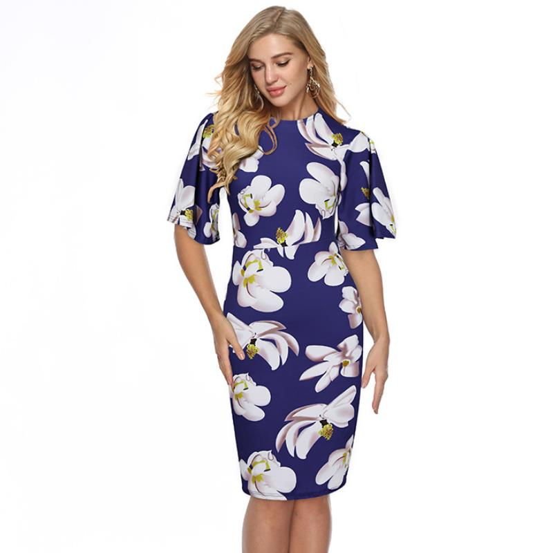 US $9.33 28% OFF|ENLU Formal Plus size Ruffle Short Sleeve Work Office Midi  Dress Women Elegant Bodycon Party Peplum Dress Large Size-in Dresses from  ...