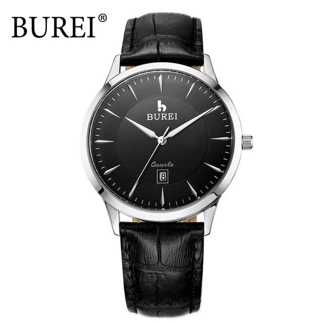 BUREI Relógios De Luxo Homens Couro Genuíno Strap Vogue Quartz Mulheres Relógio de Pulso de safira À Prova D' Água 3ATM Relógios Relogio feminino