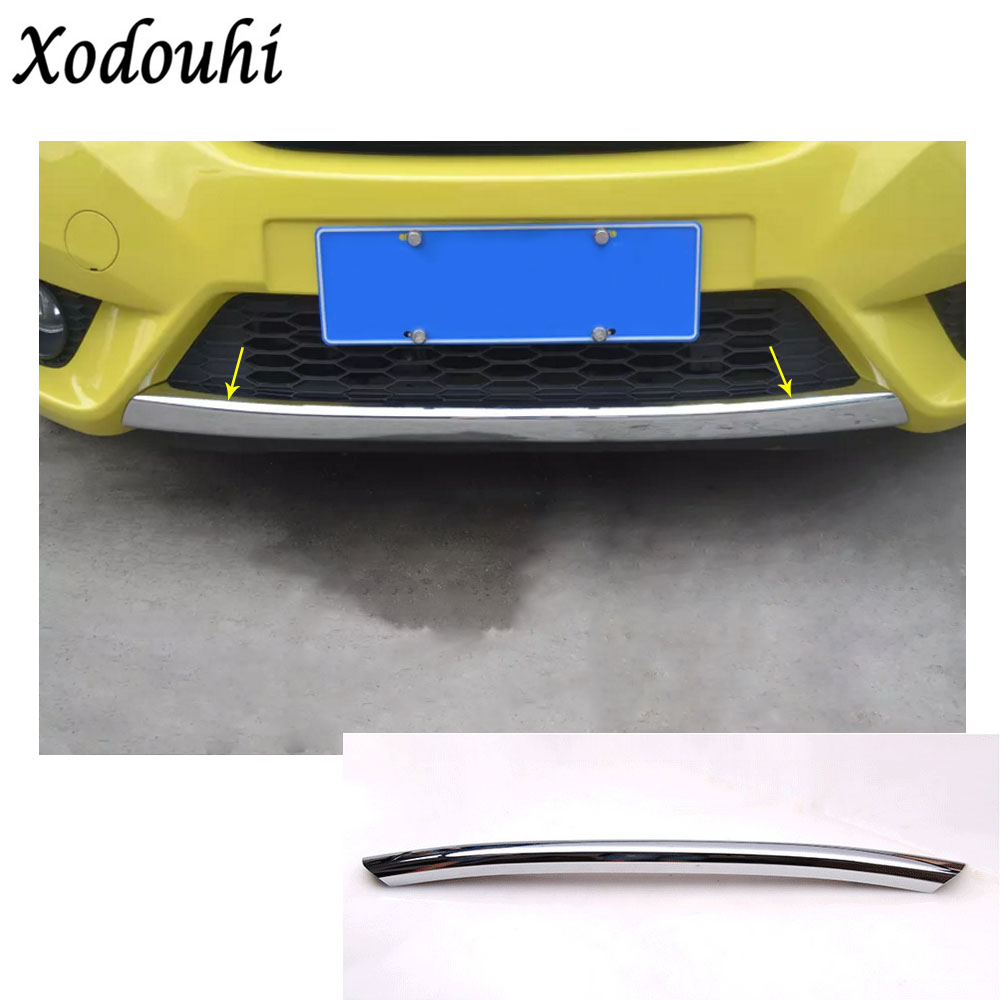 For Honda Fit jazz 2014 2015 2016 2017 car body cover Bumper engine ABS Chrome trim Front bottom Grid Grill Grille edge 1pcs high quality for toyota highlander 2015 2016 car cover bumper engine abs chrome trims front grid grill grille frame edge 1pcs