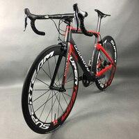 ألياف الكربون كاملة الطريق دراجة سباق الدراجات leadnovo الأسود والأحمر الأبيض مع 9/10/11 سرعة
