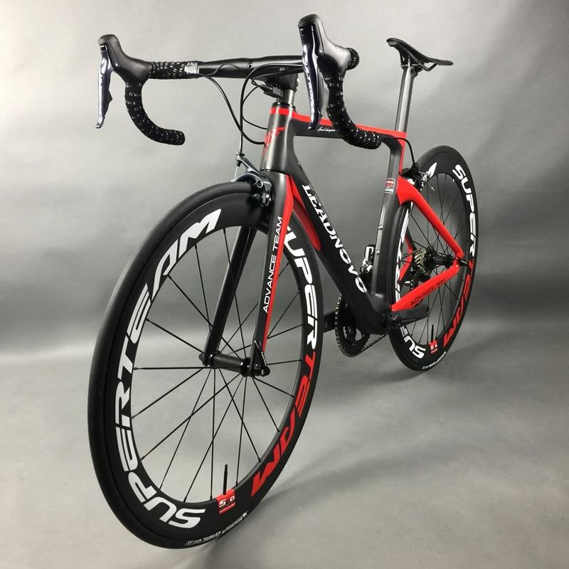 Vélo de route complet en Fiber de carbone course cyclisme Leadnovo noir-rouge-blanc avec 9/10/11 vitesses