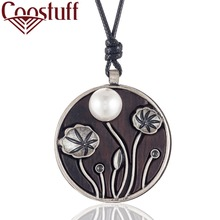 Vintage Handmade Sandalwood Necklace Women with Lotus Pendant necklaces & pendants Jewelry collares mujer colar choker