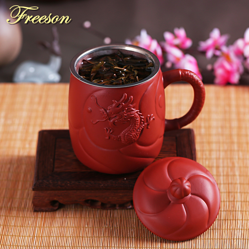 Retro Ancient Chinese Dragon Purple Clay Tea Mug with Lid Infuser Handmade Yixing Zisha Tea Cup 440ml Teacup Gift Mug