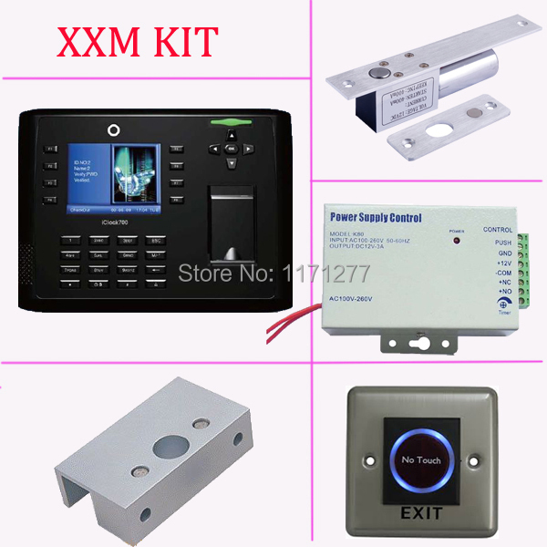 Fingerprint access control and time attendance 13.56MHZ IC card reader iclock700+power supply+electric lock+exit button+bracket zksoftware x7 fingerprint access control syetem frid card fingerprint access control time attendance