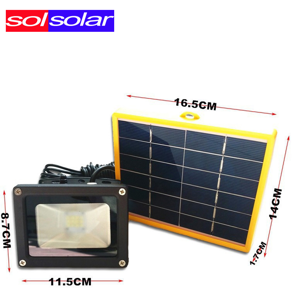 Waterproof 10W Solar powered LED Flood light with 5M wire+2200mA ...