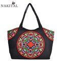 Ethnic Embroidery Handmade Textile Cloth Handbags Vintage Women Shoulder Tote Bags Large Messenger Bag Bolsa Feminina