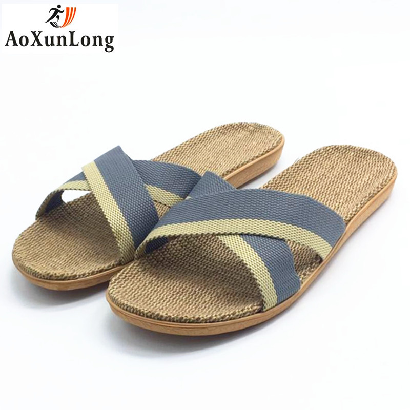 Spring Men Slippers Flax Weaving Home Slippers Beach Men Sandals Casual Shoes Men Flip Flop Eur 44-45 Zapatos Hombre Flip Flops
