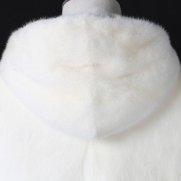 Weiße Mode mit Kapuze warme lässige Kunstfuchs Pelzmantel Herren - Herrenbekleidung - Foto 4