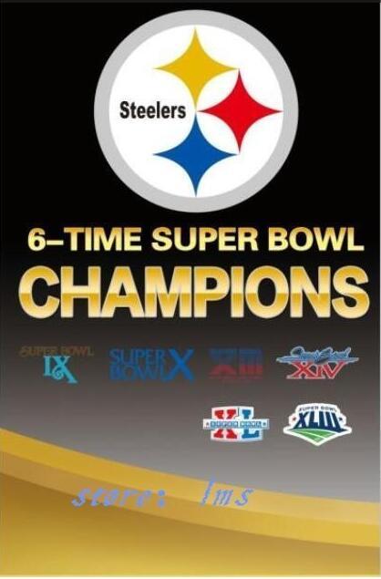NFL Pittsburgh Steelers Super Bowl Champions Flag digital printed banner