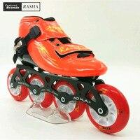 Скорость Роликовые коньки обувь оранжевый цвет ребенок роликовые коньки загрузки на роликах 84 мм колеса патин