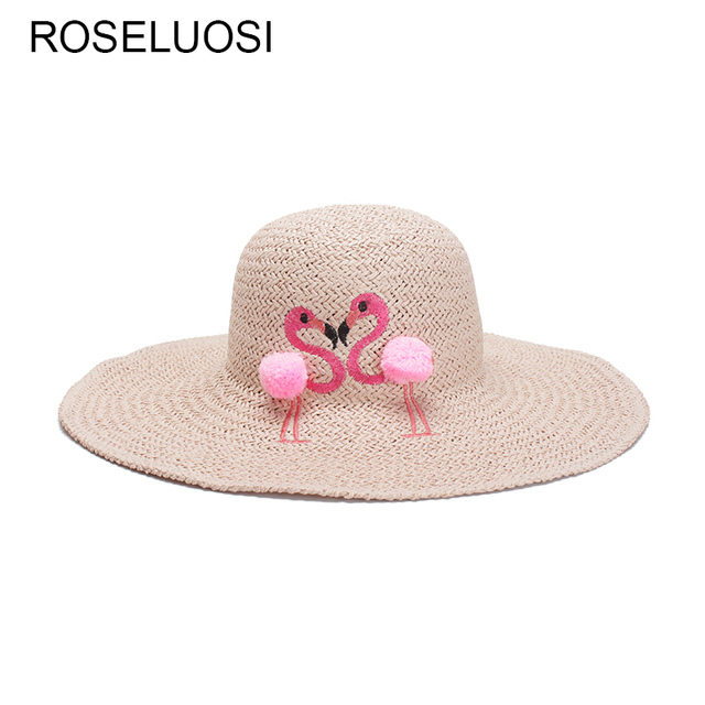 Roseluosi mujeres sombreros de verano 2018 nuevos flamencos Bordado ala  ancha Sombreros para niña playa sombrero a7f500c8ab7d