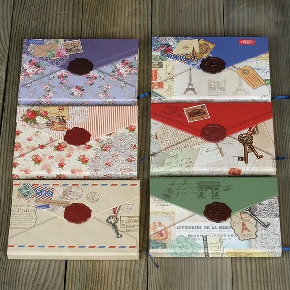 1pcs/lot NEW Vintage Envelope Stamp Style DIY Multifunction Notebook   DIY Journal Books   Agenda Retro Diary