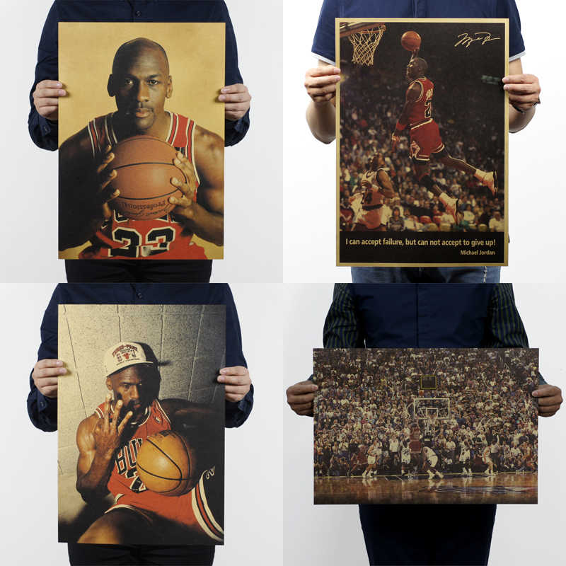 51x35.5cm Kraft Paper NBA Star Michael Jordan Vintage Retro Posters Printing Boys Room Wall Decorations Decorative Painting