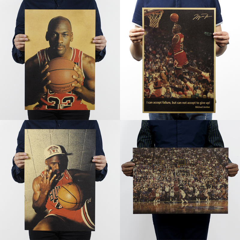 51x35.5cm Kraft Paper Star Michael Jordan Vintage Retro Posters Printing Boys Room Wall Decorations Decorative Painting