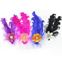 Sweet Flower Curly Feather Cake Toppers Dessert Cupcake Cake Flag Birthday Cake Decoration Event Party Christmas Halloween