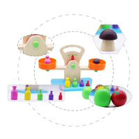 Wooden Simulation Balance Scale Wooden Measure Weight Toy Children Early Education Intelligence Tool