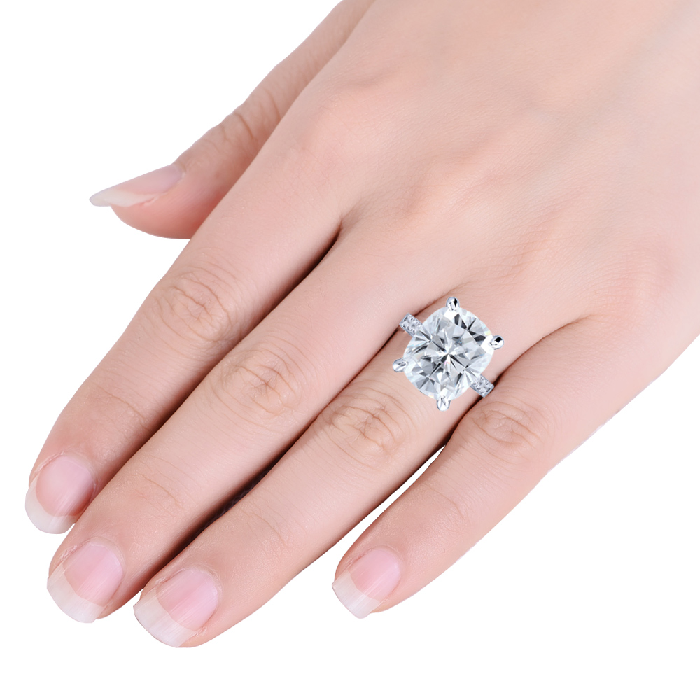 Moissanite Engagement Ring 5 CTW DEF Moissanite Cushion Cut Diamond ...