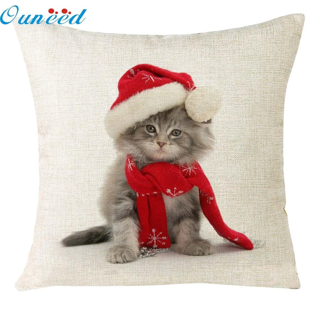 Hot Xmas Christmas Cat Sofa Home Decoration Festival Pillow Case Cushion Cover de almohada drop shipping Nov21