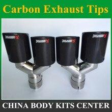 1 pcs Y Modelo Escapamentos Akrapovic glossy Carbono + 304 aço inoxidável dupla End Dicas para BMW BENZ AUDI VW Escape Dicas Dupla