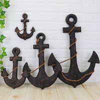Creative Ship Anchor Mediterranean Style Decoration Wood Boat Ship Nautical Home Decor Anchor Bar Wall Decoration Garden Fig.