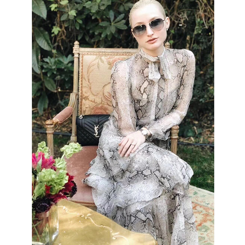Корсаж Многоуровневое Dress2019 готовы носить с принтом шелковое платье-миди плиссированные декольте свободные рукава эластичные манжеты и ас...